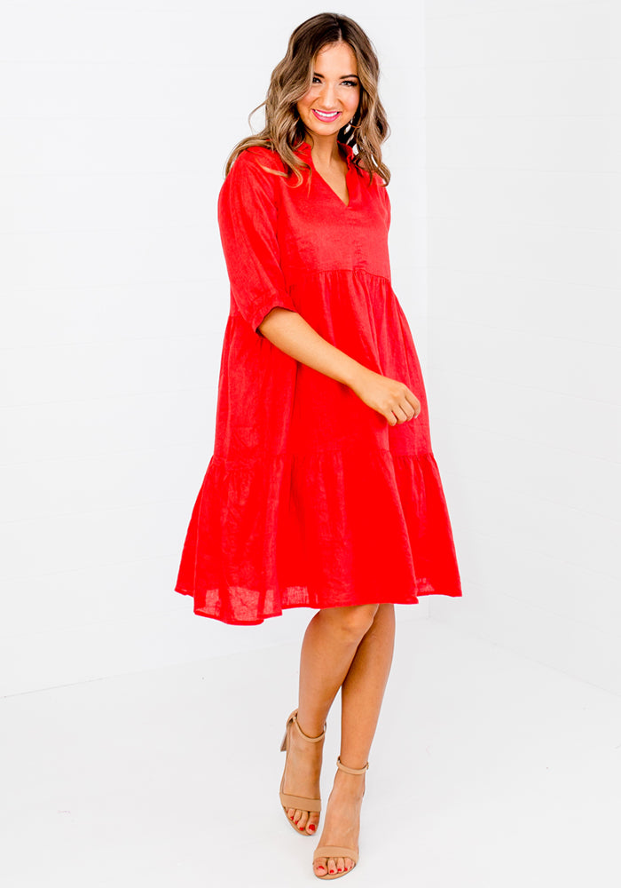 SOCIETY TIERED LINEN DRESS WITH COLLAR - RED