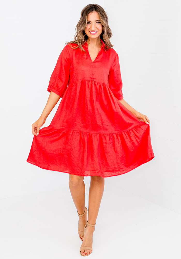 Load image into Gallery viewer, SOCIETY TIERED LINEN DRESS WITH COLLAR - RED