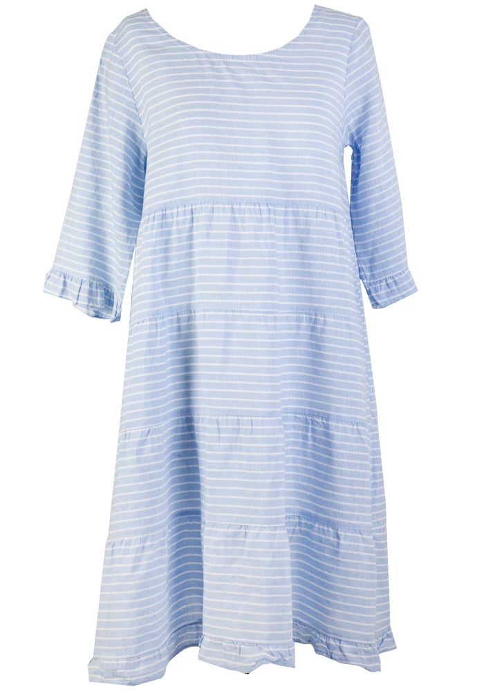 Load image into Gallery viewer, GRIFFITH STRIPE TIERED LINEN DRESS - BLUE