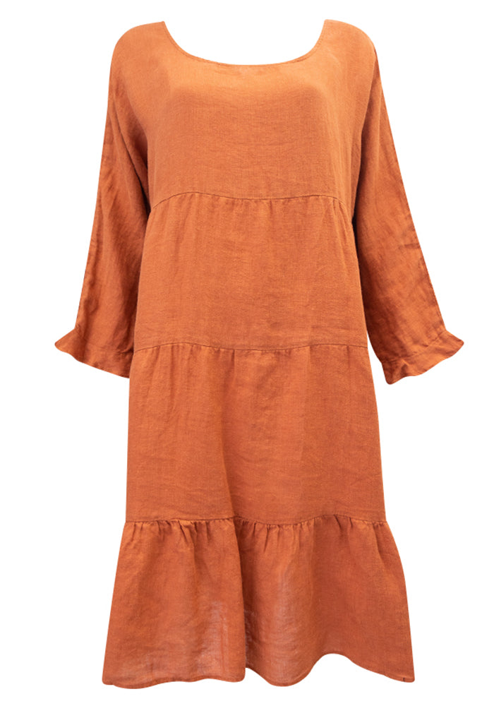 Load image into Gallery viewer, TRINITY TIERED LINEN DRESS - TERRACOTTA