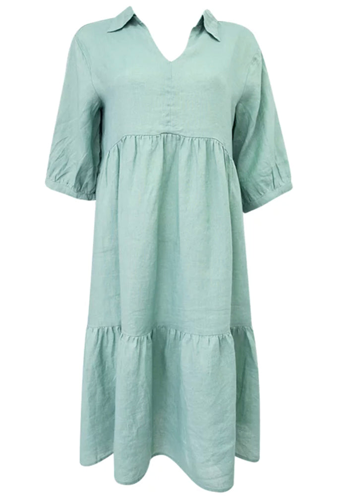 Load image into Gallery viewer, SOCIETY TIERED LINEN DRESS WITH COLLAR