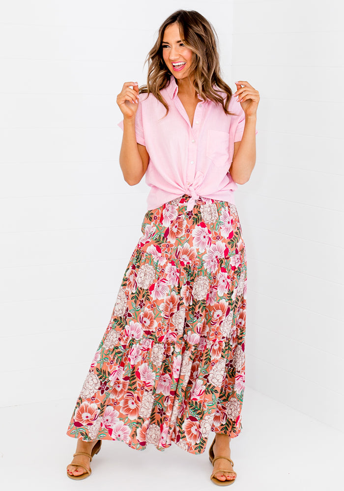 Load image into Gallery viewer, SPIRO SHIRRED WAIST MAXI SKIRT