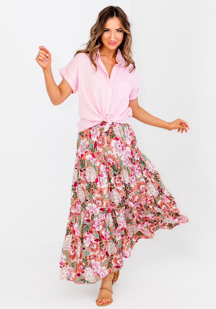 SPIRO SHIRRED WAIST MAXI SKIRT