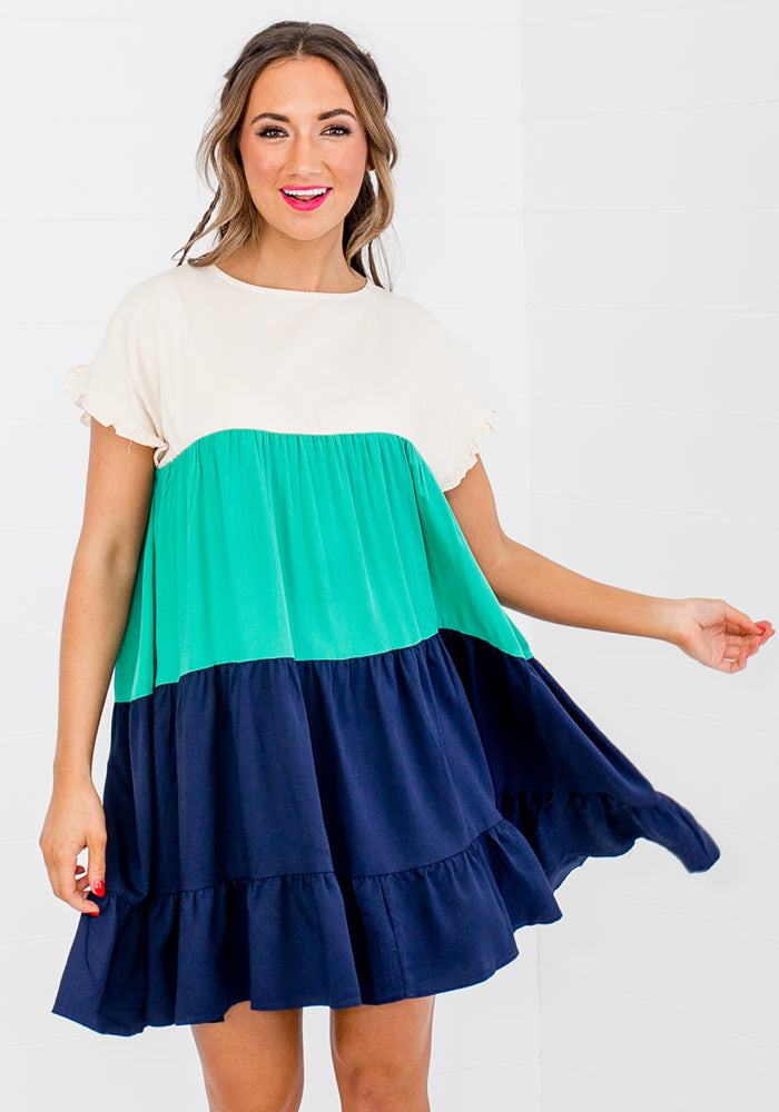Load image into Gallery viewer, SPLICE RUFFLE HEM MINI - NAVY AND JADE