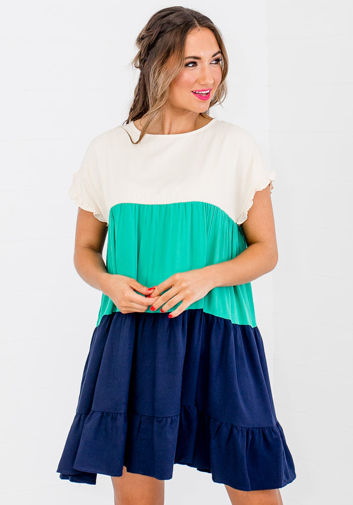 SPLICE RUFFLE HEM MINI - NAVY AND JADE