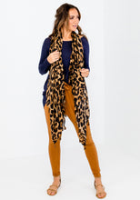 Load image into Gallery viewer, TASSEL TRIM SCARF - CLASSIC TAN LEOPARD
