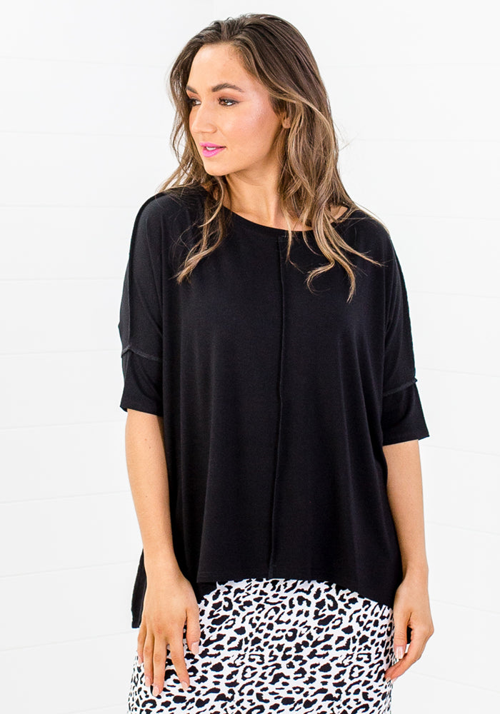 Load image into Gallery viewer, BAMBOO STELLA SLOUCH TEE SLEEVED - BLACK