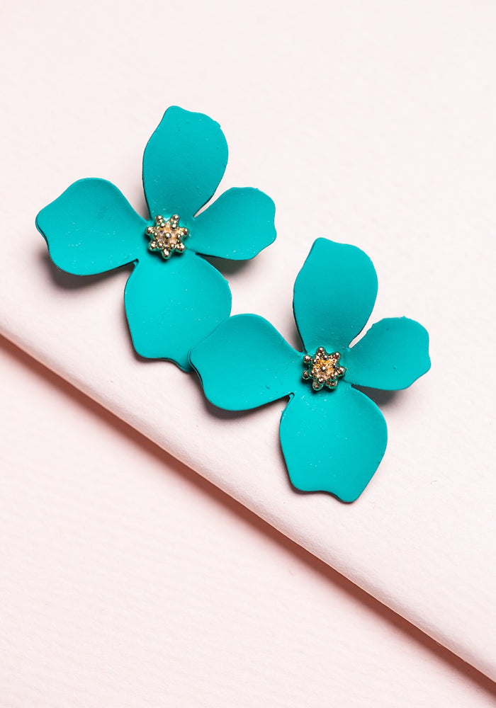 ZAFINO - SMALL ORCHID FLOWER STUD EARRING - GREEN