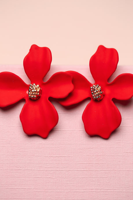 ZAFINO - SMALL ORCHID FLOWER STUD EARRING - RED