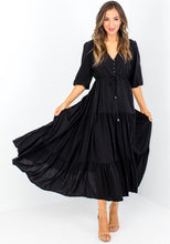 Load image into Gallery viewer, LAUREN BUTTON FRONT MAXI DRESS - BLACK