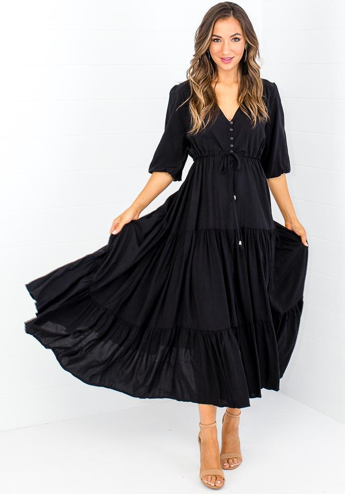 LAUREN BUTTON FRONT MAXI DRESS - BLACK