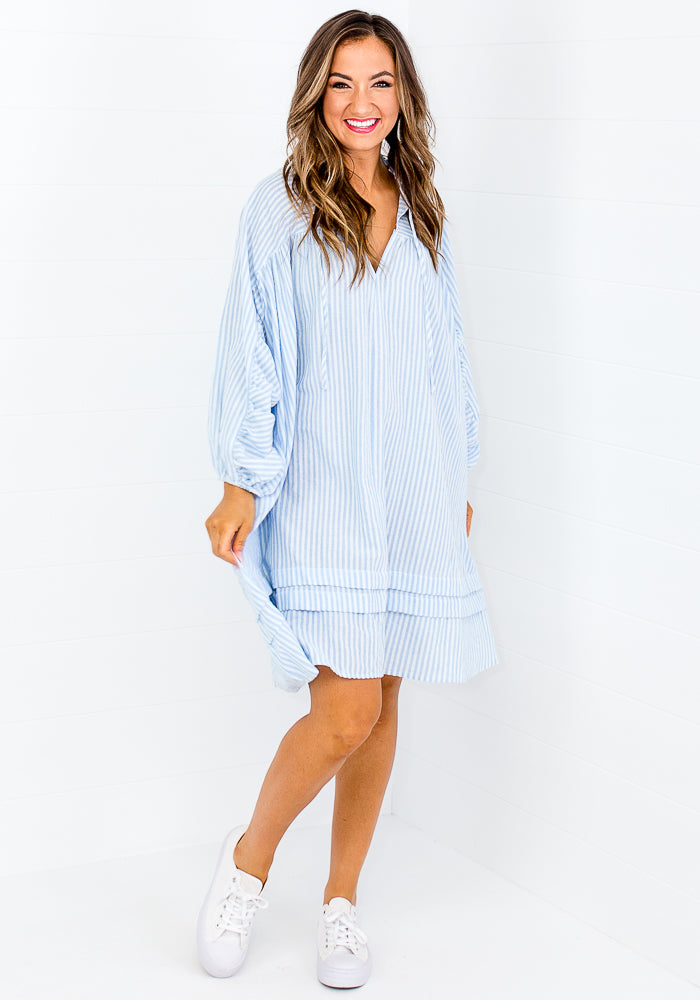 Load image into Gallery viewer, ARIEL COTTON OVERSIZED SHIRTDRESS - BLUE STRIPE