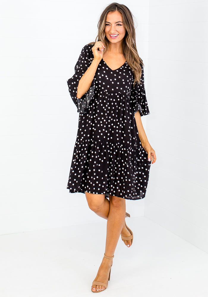 Load image into Gallery viewer, CARLY TIERED DRESS - BLACK POLKA DOT