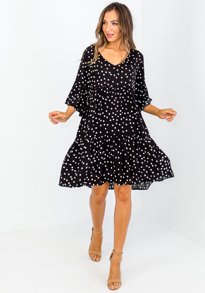 CARLY TIERED DRESS - BLACK POLKA DOT