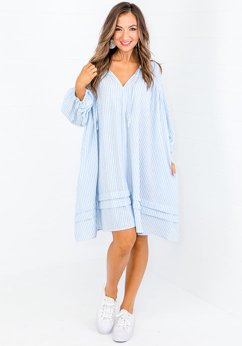 ARIEL COTTON OVERSIZED SHIRTDRESS - BLUE STRIPE