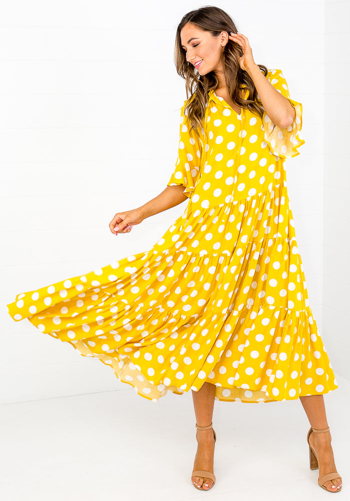 Load image into Gallery viewer, WILLOW TIERED MIDI DRESS - YELLOW SPOT