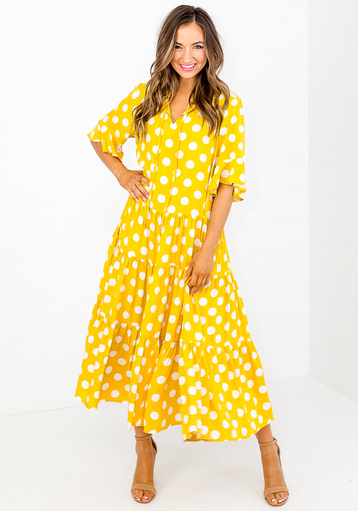 WILLOW TIERED MIDI DRESS - YELLOW SPOT