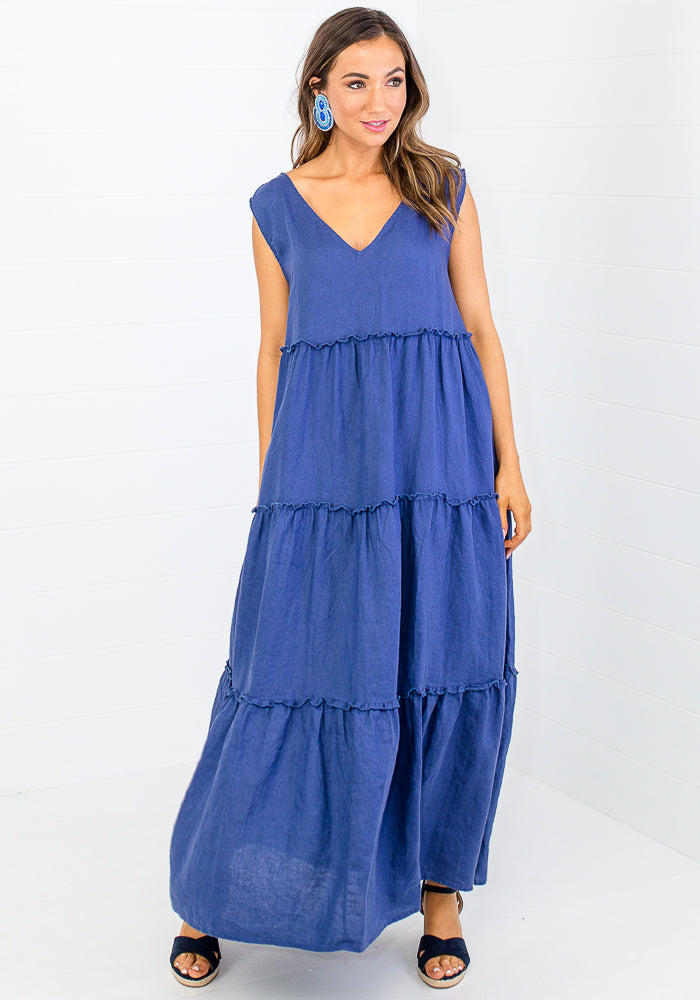 Load image into Gallery viewer, ELLEN TIERED LINEN MAXI - NAVY