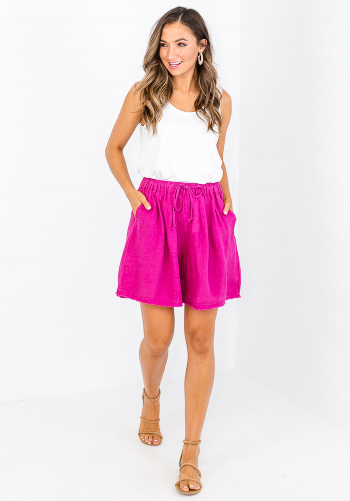 Load image into Gallery viewer, LAYE LINEN SHORTS - MAGENTA