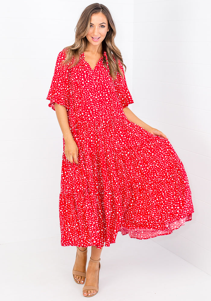 TAMIKA TIERED TIE NECK MAXI - RED POLKA DOT