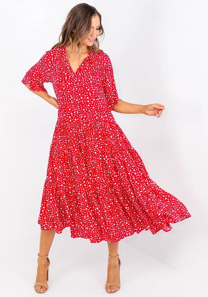 Load image into Gallery viewer, TAMIKA TIERED TIE NECK MAXI - RED POLKA DOT