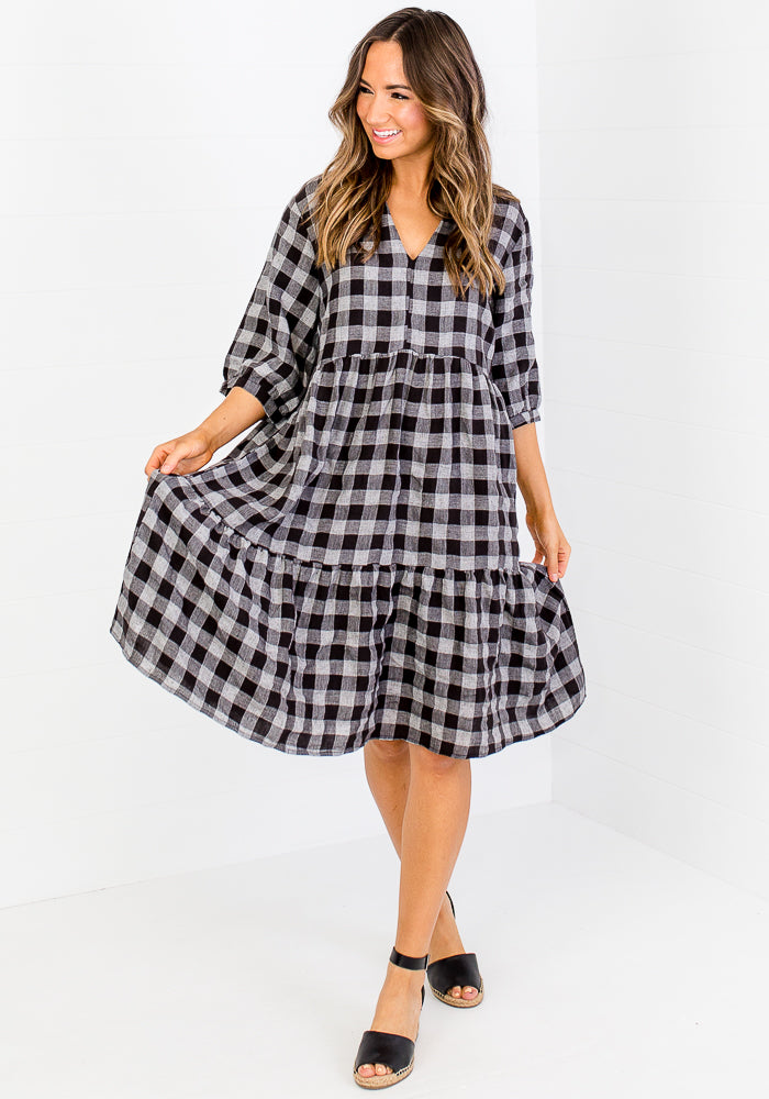 ELIJAH TIERED LINEN MIDI - BLACK & GREY GINHAM