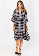 Load image into Gallery viewer, ELIJAH TIERED LINEN MIDI - BLACK & GREY GINHAM