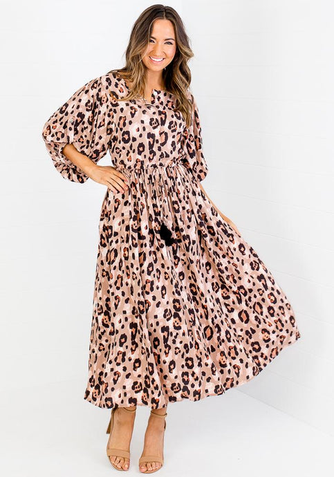 KOURTNEY TIE WAIST SLEEVE MAXI - BLUSH LEOPARD
