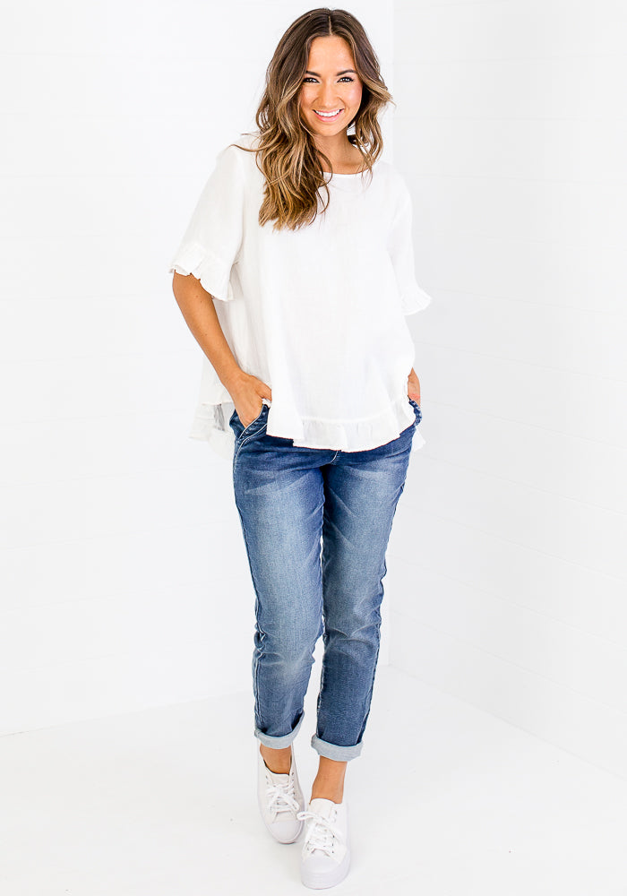 Load image into Gallery viewer, TORI RUFFLE EDGE BUTTON BACK LINEN TOP - WHITE