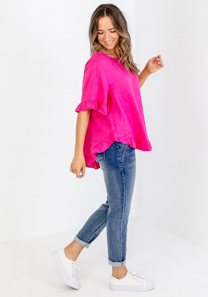 Load image into Gallery viewer, TORI RUFFLE EDGE BUTTON BACK LINEN TOP - HOT PINK