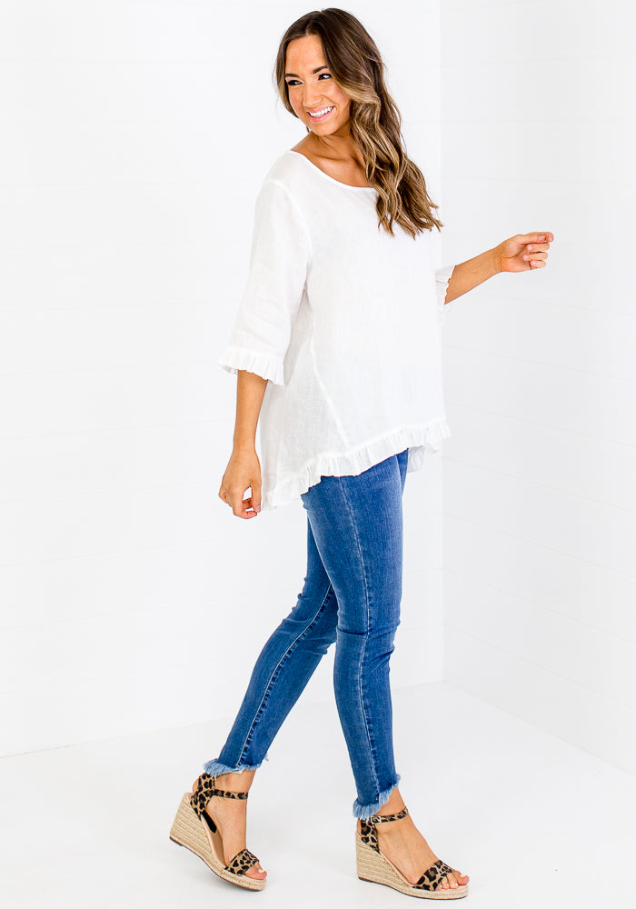 Load image into Gallery viewer, JADA LINEN FRILL HEM TOP - WHITE