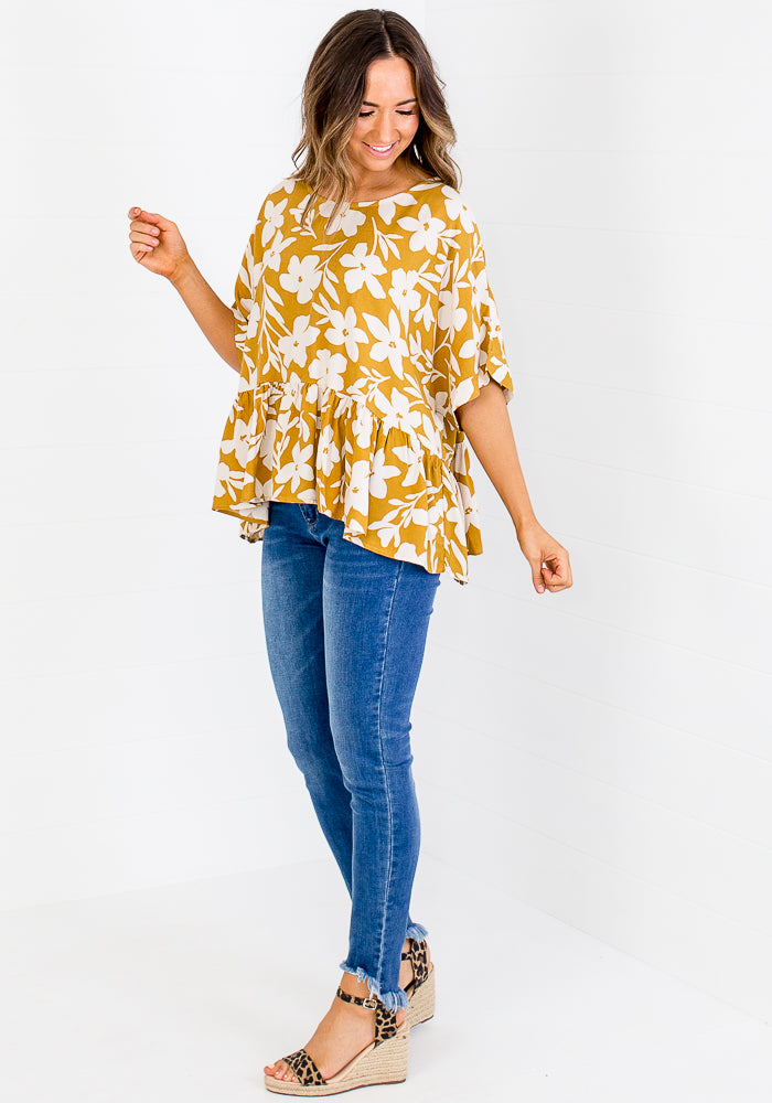 Load image into Gallery viewer, ALLIE FRILL HEM TOP - FLORAL PRINT