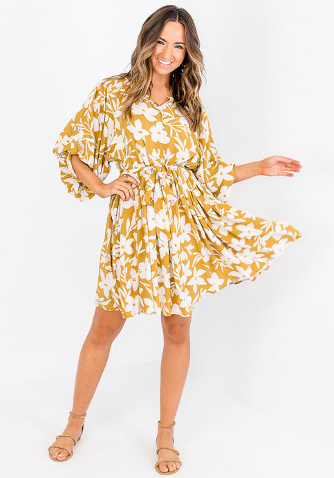 ALLIE BUTTON MINI DRESS - FLORAL
