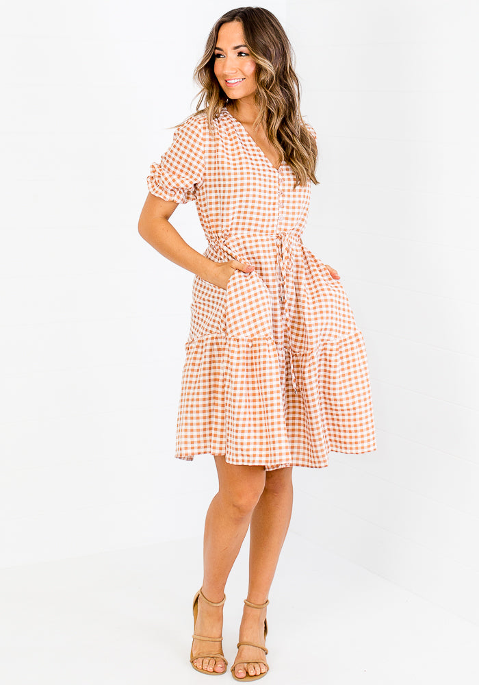 MILEY TIE WAIST MINI - TAN GINGHAM