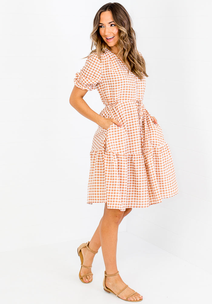 Load image into Gallery viewer, MILEY TIE WAIST MINI - TAN GINGHAM