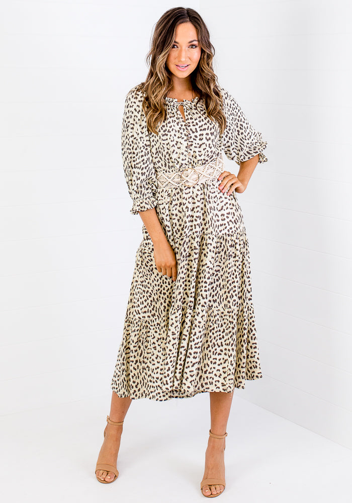 ALEXIA PRINT BUTTON THROUGH MAXI - NATURAL LEOPARD