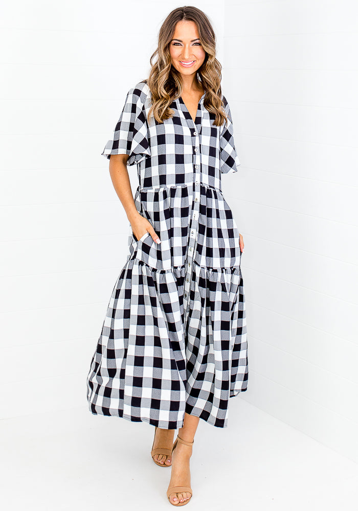 AMBER BUTTON THROUGH MAXI - BLACK GINGHAM