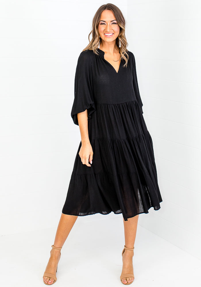 Load image into Gallery viewer, AMIRA TIERED MIDI DRESS - BLACK