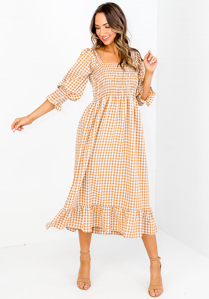 Load image into Gallery viewer, CANDICE GINGHAM SHIRRED BODICE MIDI DRESS