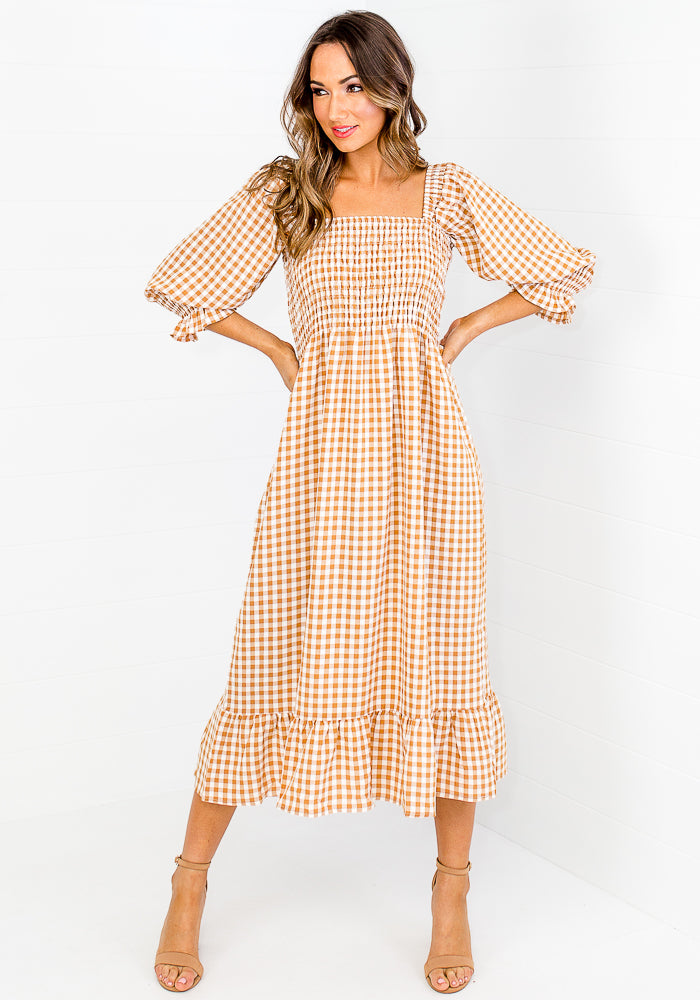 CANDICE GINGHAM SHIRRED BODICE MIDI DRESS