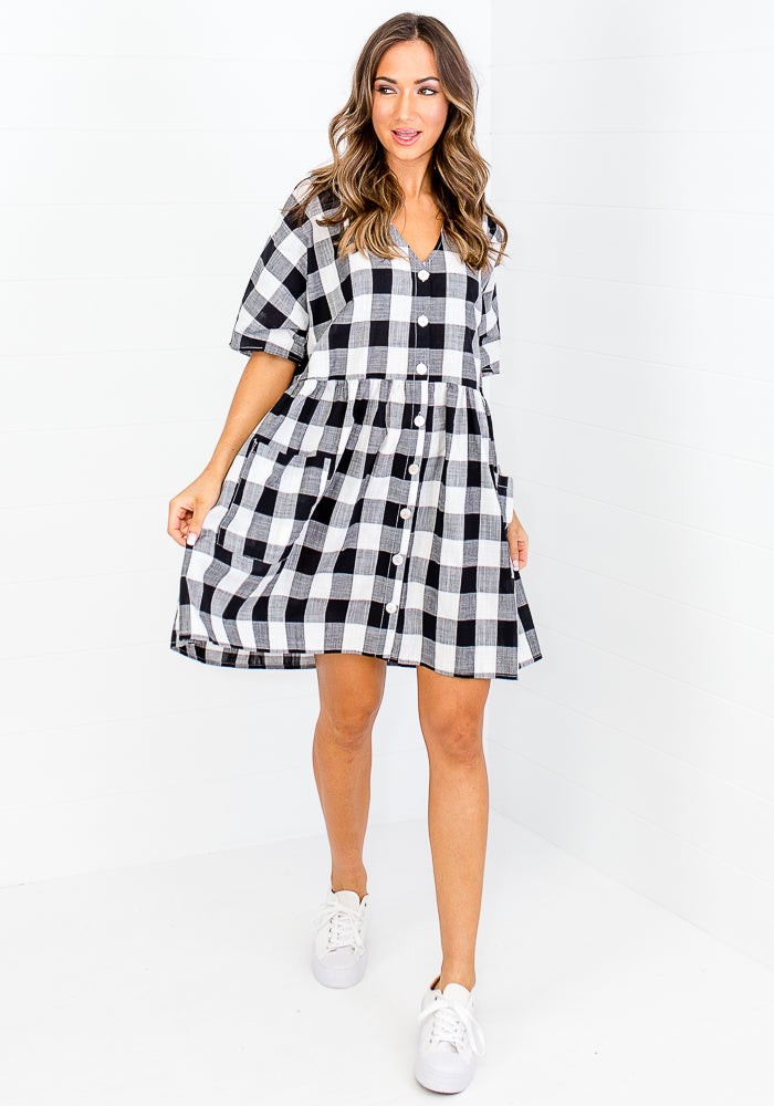 Load image into Gallery viewer, LAURIE COTTON BUTTON THROUGH DRESS - BLACK GINGHAM