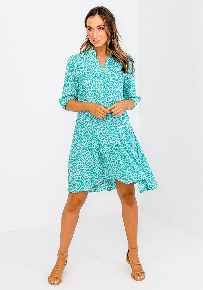 EMMA GREEN LEOPARD TIERED DRESS