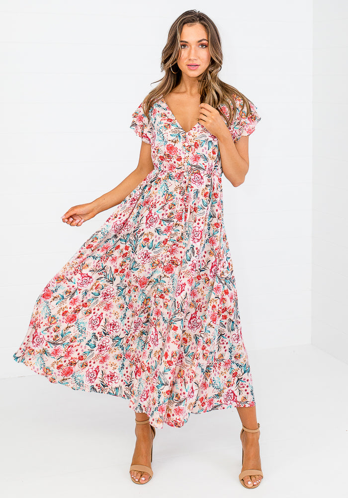 ENRIQUE TIE WAIST BUTTON THROUGH MIDI - FLORAL