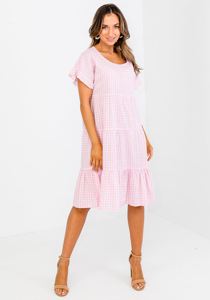 GALINA GINGHAM TIERED MIDI DRESS - PINK