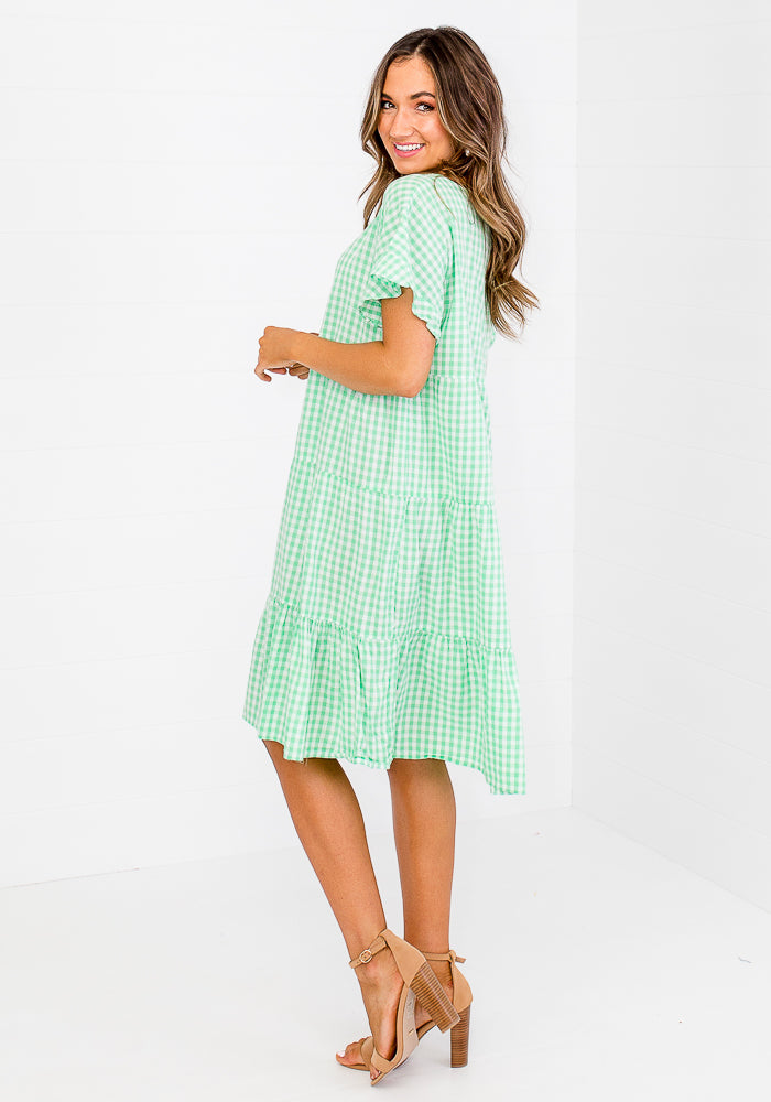 GALINA GINGHAM TIERED MIDI DRESS - GREEN