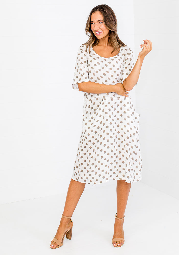 Load image into Gallery viewer, MELANIE LINEN POCKET DRESS - WHITE POLKA DOT