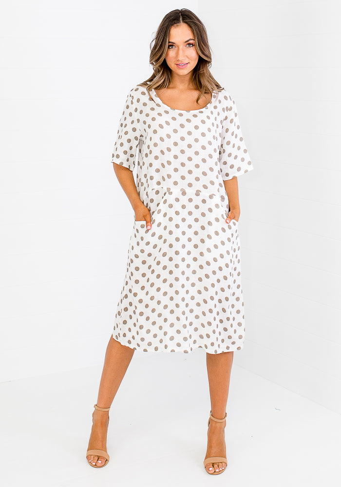 MELANIE LINEN POCKET DRESS - WHITE POLKA DOT