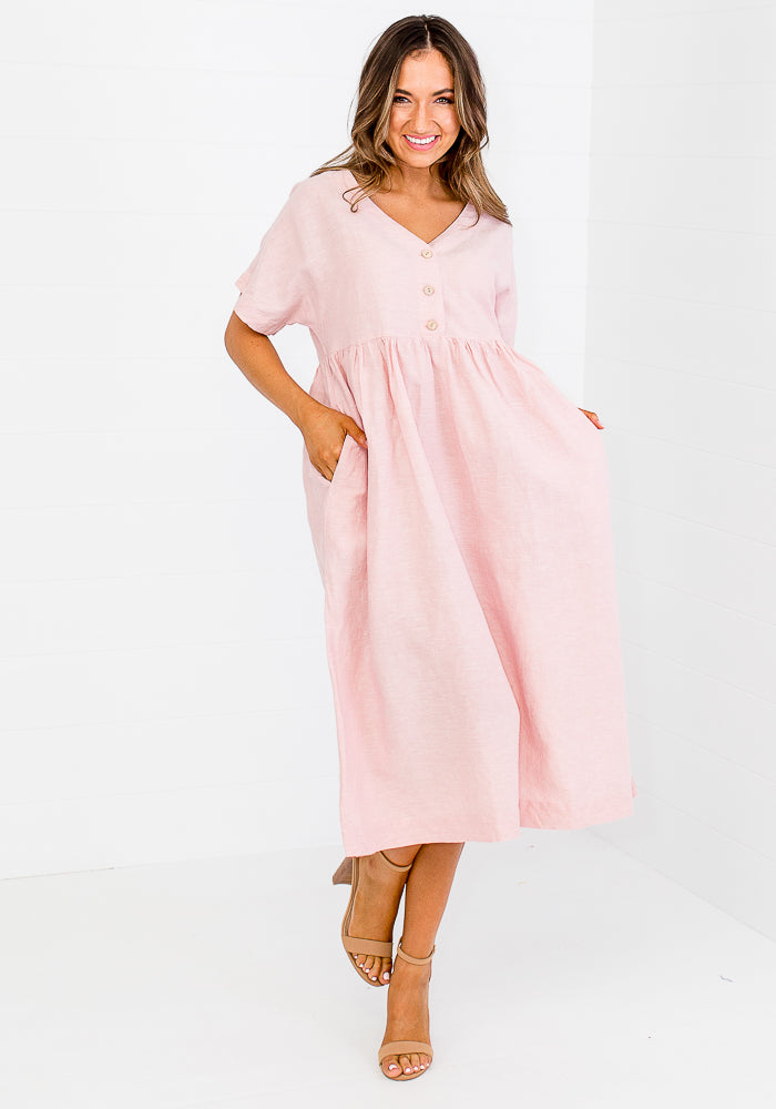 LACY LINEN BUTTON BUST DRESS - BLUSH