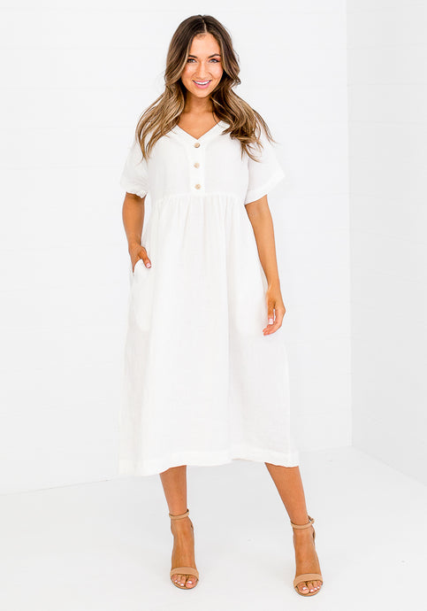 LACY LINEN BUTTON BUST DRESS - WHITE