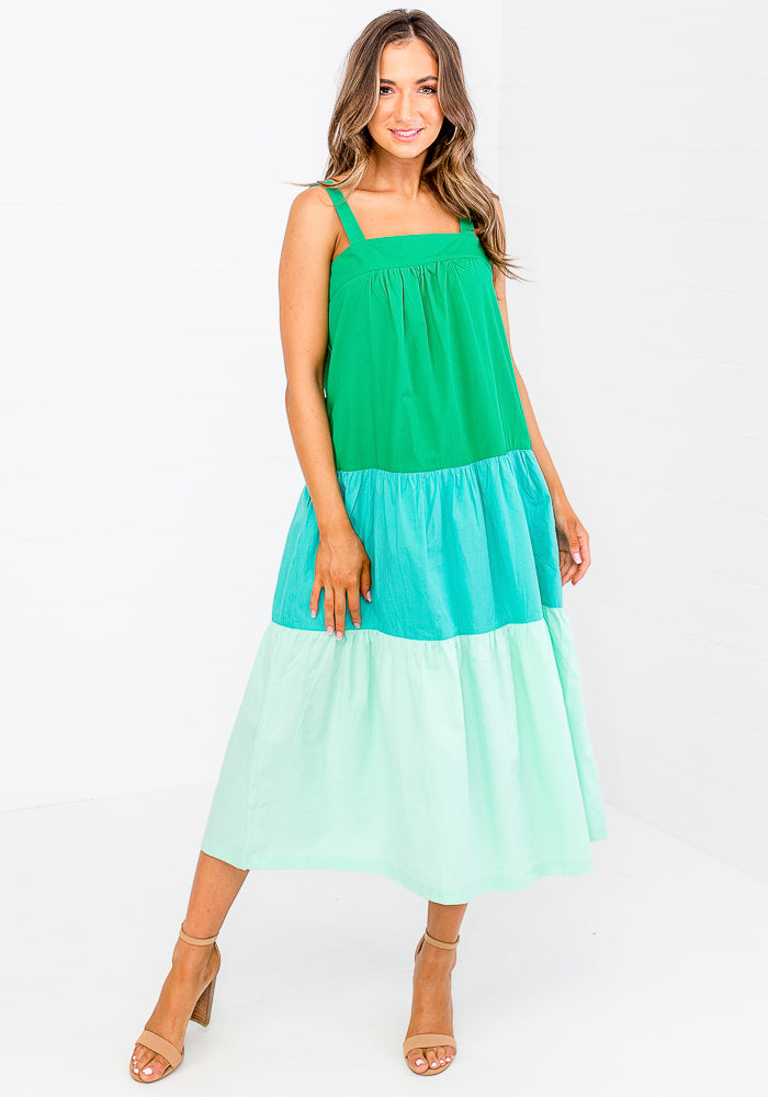 Load image into Gallery viewer, CLAUDIA -  COLOUR BLOCK MIDI - GREEN